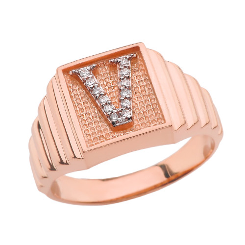 Rose Gold Diamond Initial V Ring