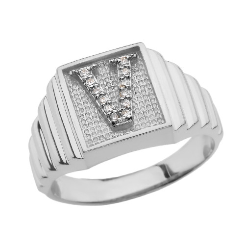 White Gold Diamond Initial V Ring