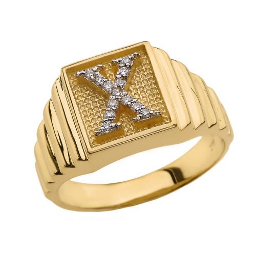 Yellow Gold Diamond Initial X Ring
