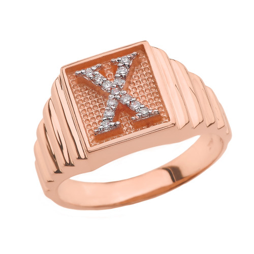 Rose Gold Diamond Initial X Ring