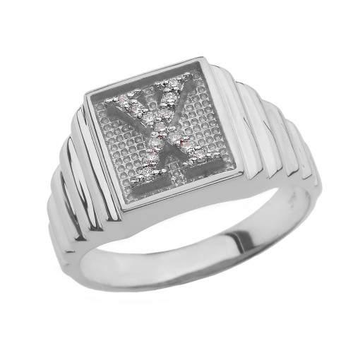 White Gold Diamond Initial X Ring