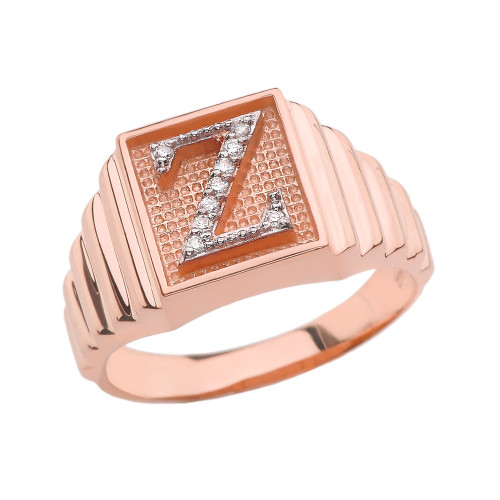 Rose Gold Diamond Initial Z Ring
