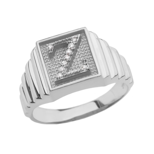 White Gold Diamond Initial Z Ring