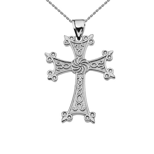 "Eternity Armenian Cross ""Khachkar"" White Gold Pendant Necklace (Small)"