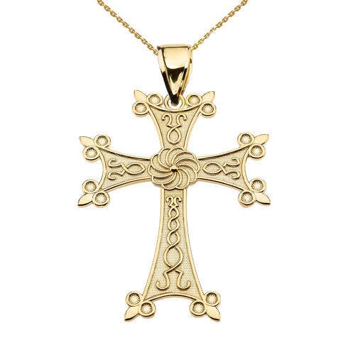 "Eternity Armenian Cross ""Khachkar"" Yellow Gold Pendant Necklace (Medium)"