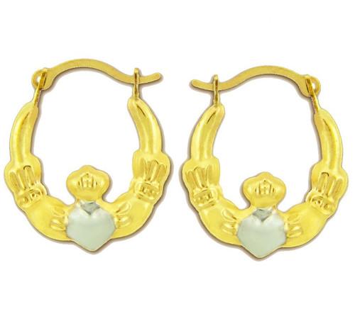 Rhodium Mini Claddagh Hoop Earrings