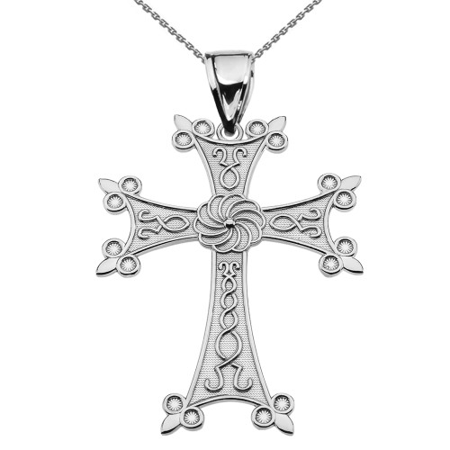 "Eternity Armenian Cross ""Khachkar"" White Gold Pendant Necklace (Large)"