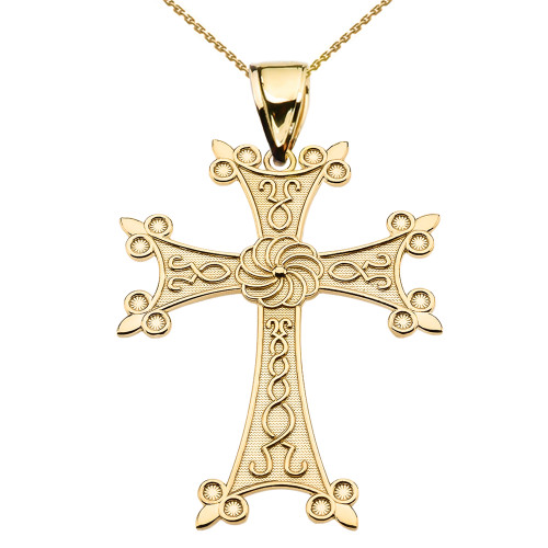 "Eternity Armenian Cross ""Khachkar"" Yellow Gold Pendant Necklace (Large)"