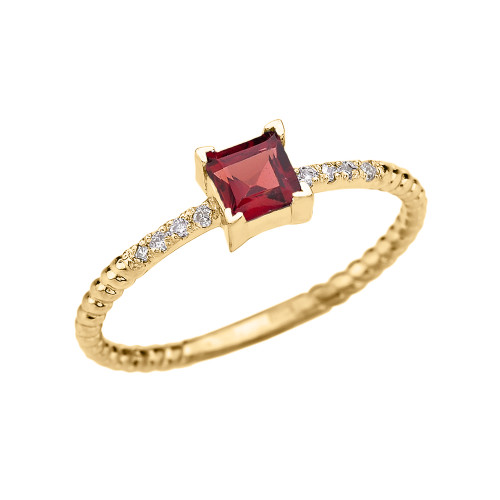 Dainty Yellow Gold Solitaire Princess Cut Garnet and Diamond Rope Design Engagement/Promise Ring