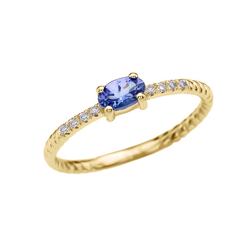 Diamond And Oval Tanzanite Rope Design Yellow Gold Dainty Engagement/Proposal/Stackable Ring