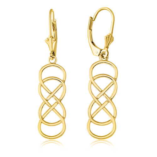 14K Yellow Gold Double Infinity Earring Set