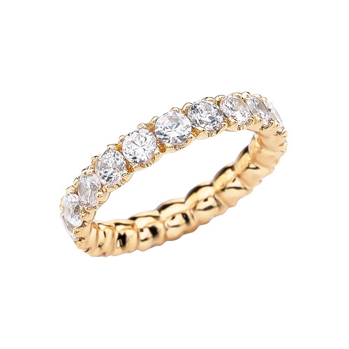 Yellow Gold 4.5-5 Carat CZ Eternity Wedding Band