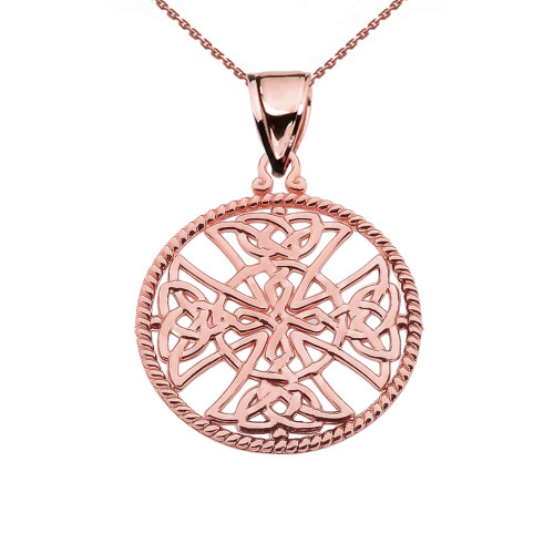 Rose Gold Trinity Knot Celtic Cross In A Round Rope Frame Pendant Necklace