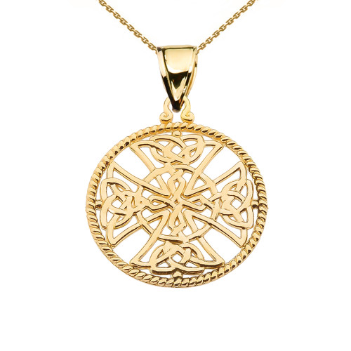 Yellow Gold Trinity Knot Celtic Cross In A Round Rope Frame Pendant Necklace