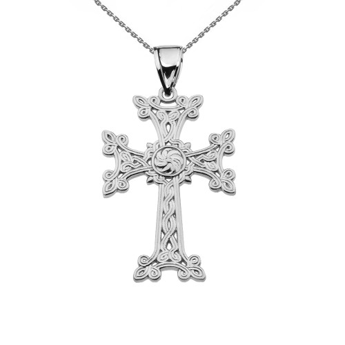 "Eternity ""Khachkar"" Armenian Cross White Gold Pendant Necklace (Small)"