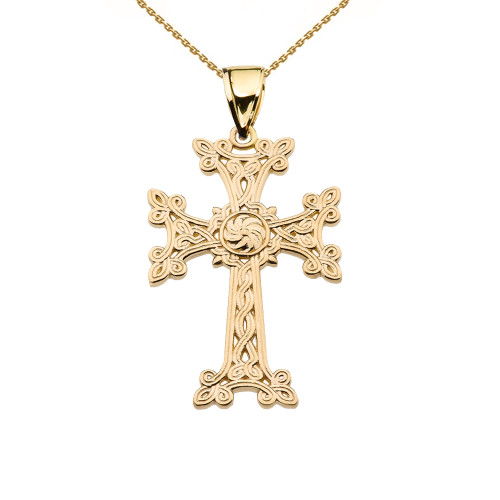"Eternity ""Khachkar"" Armenian Cross Yellow Gold Pendant Necklace (Small)"