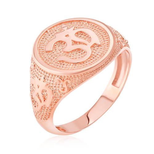 Rose Gold Om Symbol Harmony Men's Ring