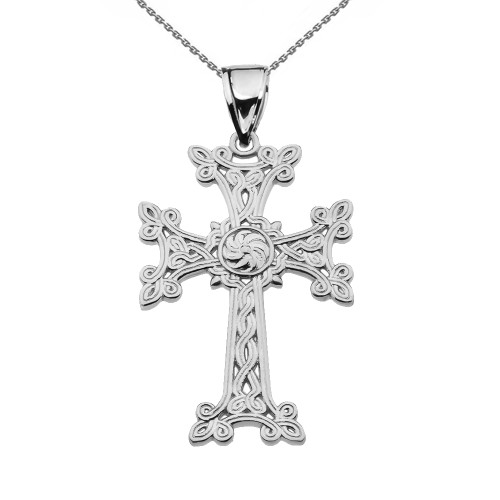 "Eternity ""Khachkar"" Armenian Cross White Gold Pendant Necklace (Medium)"
