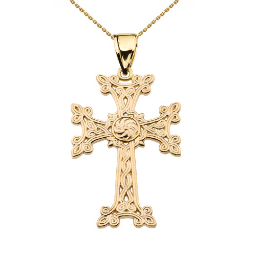 "Eternity ""Khachkar"" Armenian Cross Yellow Gold Pendant Necklace (Medium)"