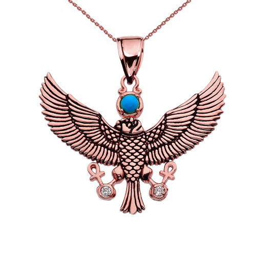 Diamond Falcon of Tutankhamun holding the 'Ankh' Cross Rose Gold Pendant Necklace