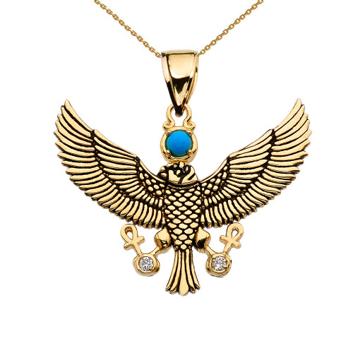 Diamond Falcon of Tutankhamun holding the 'Ankh' Cross Yellow Gold Pendant Necklace