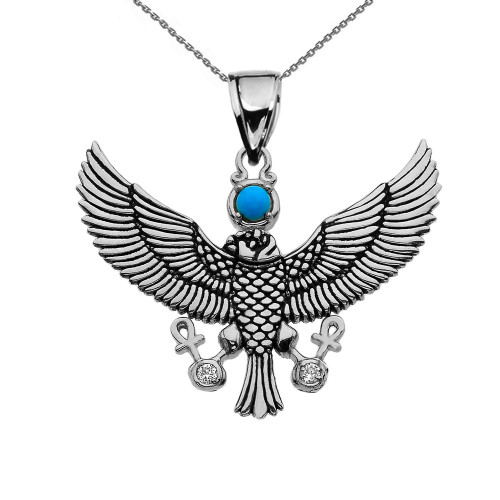 Cubic Zirconia Falcon of Tutankhamun holding the 'Ankh' Cross Sterling Silver Pendant Necklace
