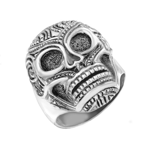 Sterling Silver Day of the Dead Sugar Skull Wide Cast Men's Ring