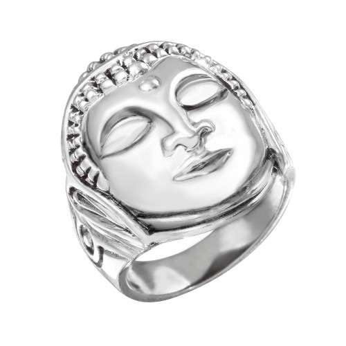 Sterling Silver Buddha Head Tibetan Medicinal Men's Ring