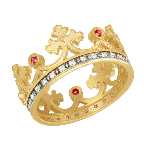 Yellow Gold Red CZ Medieval Crown Round Diamonds Band Women's Ring