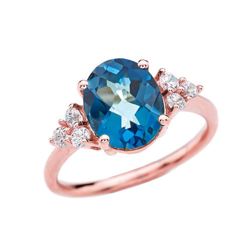 3 Carat Blue Topaz Solitaire Rose Gold Modern Proposal/Promise Ring With White Topaz Sidestones