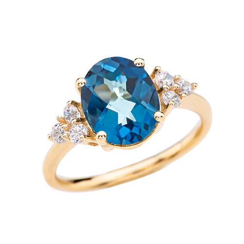 3 Carat Blue Topaz Solitaire Yellow Gold Modern Proposal/Promise Ring With White Topaz Sidestones
