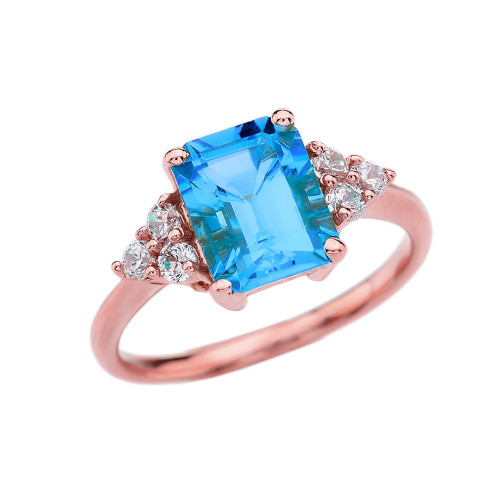 2.5 Carat Blue Topaz Modern Proposal/Promise Ring With White Topaz Side-stones In Rose Gold