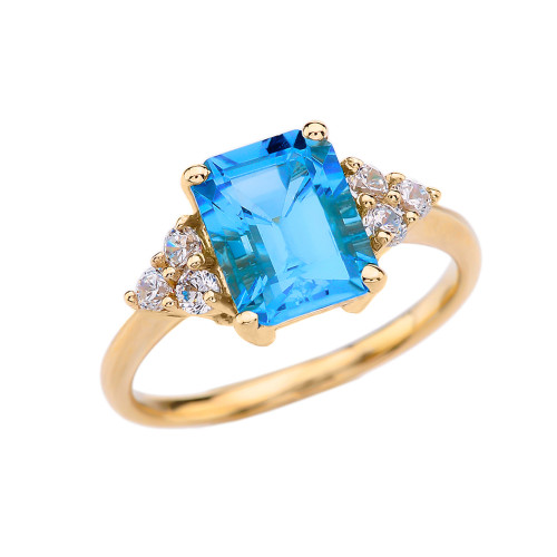 2.5 Carat Blue Topaz Modern Proposal/Promise Ring With White Topaz Side-stones In Yellow Gold