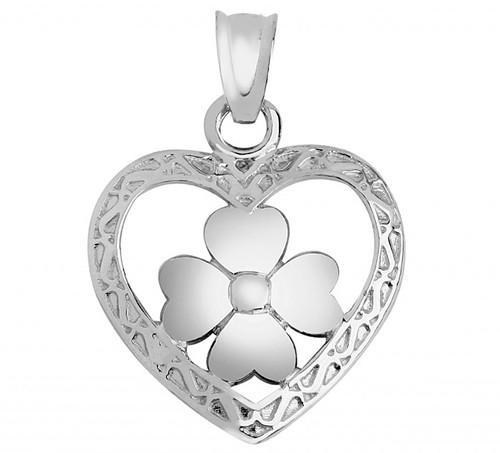 Silver Heart Clover Pendant