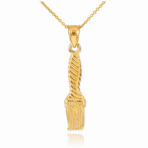 Gold Paintbrush Pendant Necklace