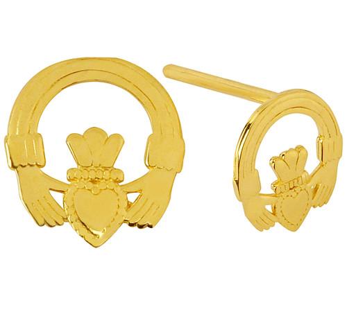 Yellow Gold Mini Claddagh Earrings