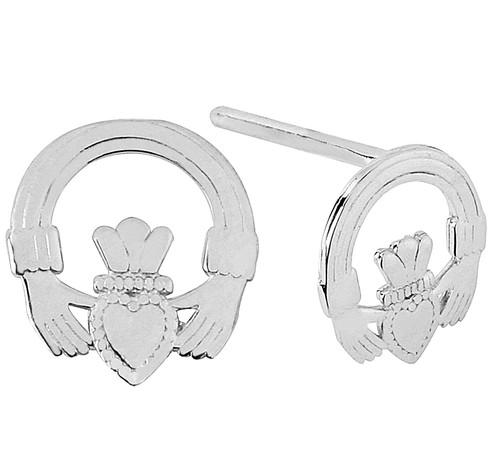 White Gold Mini Claddagh Earring