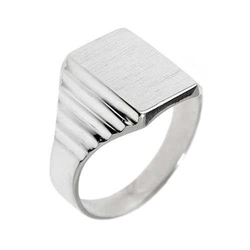 Solid White Gold Engravable  Men's Signet Ring