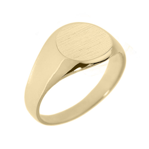 Solid Yellow Gold Round Engravable Men's Signet Ring