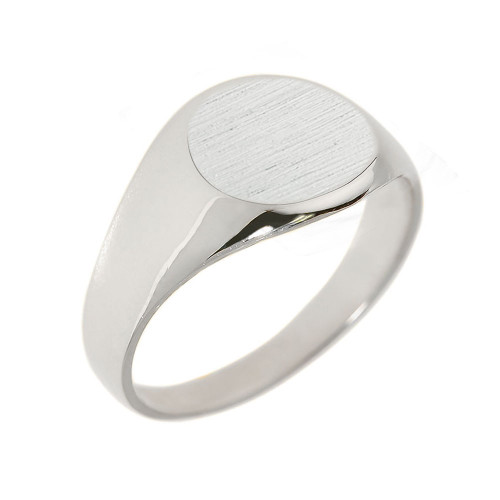 Sterling Silver Round Engravable Men's Signet Ring