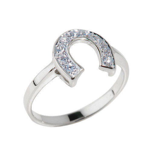 Sterling Silver CZ Studded Horseshoe Ladies Ring