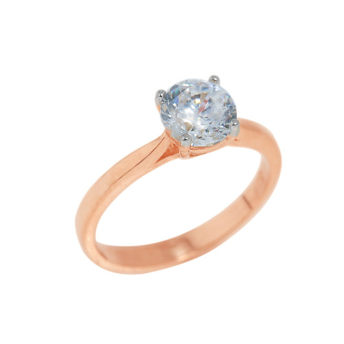 Rose Gold CZ Round Cut Engagement Ring