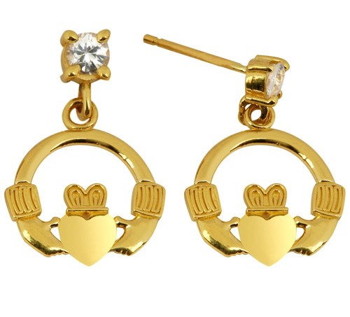 Mini Yellow Gold Claddagh Earring with CZ