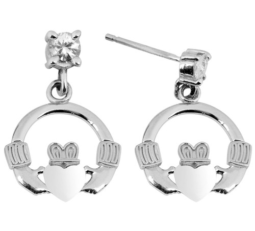 White Gold Mini Claddagh Earring with CZ