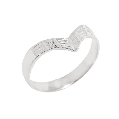 Solid White Gold Diamond-Cut Thumb Ring