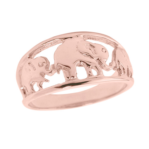 Solid Rose Gold Openwork Three Elephant Ring
