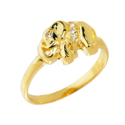 Solid Yellow Gold CZ Studded Elephant Ring