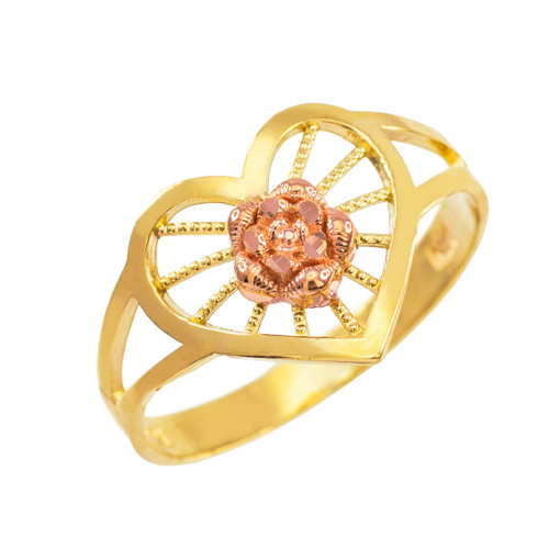 Two-Tone Gold Heart with Rose Filigree Ring