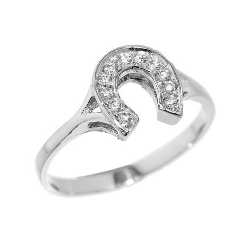 White Gold CZ Studded Ladies Horseshoe Ring