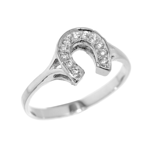Sterling Silver Diamonds Studded Ladies Horseshoe Ring